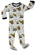 "Elowel Pajamas Elowel Baby Boys footed ""Bulldozer"" pajama sleeper 100% cotton (, Grey)"