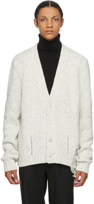 Maison Margiela White Destroyed Hem Cardigan