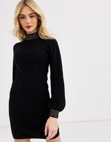 Lipsy embellished neck ribbed midi dress in black