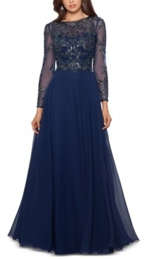 Xscape Evenings Petite Mesh-Sleeve Embellished Gown