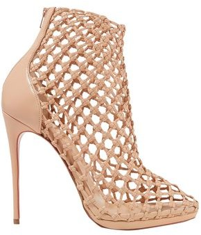 Christian Louboutin Porligat 120 Woven Leather Ankle Boots