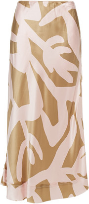 Lee Mathews Bella Printed Silk-satin Midi Skirt