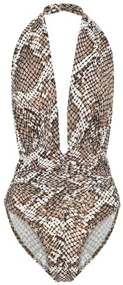 Norma Kamali Marissa snake-print swimsuit