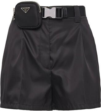 Prada Logo-Pouch Belted Shorts