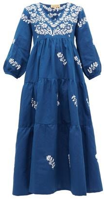 Muzungu Sisters - Frangipani Floral-embroidered Cotton-blend Dress - Navy Multi