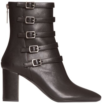 Saint Laurent Lou Strappy Leather Ankle Boots