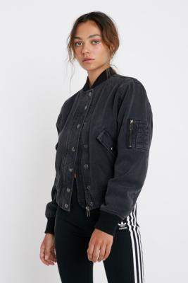 BDG Denim Bomber Jacket - black M at Urban Outfitters