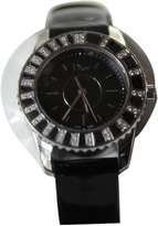 Christian Dior Black Leather Watch Christal