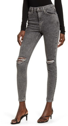 Topshop Ripped Acid Wash Ankle Skinny Jeans