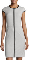 T Tahari Contrast-Trim Sheath Dress