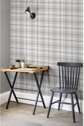 Kelso Check Wallpaper Light Grey