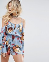Honey Punch Cold Shoulder Cami Playsuit In Romantic Floral