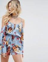 Honey Punch Cold Shoulder Cami Romper In Romantic Floral