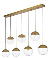 clear Yearby 7 - Light Cluster Globe Pendant Mercury Row Finish: Brass, Shade Color/Pattern