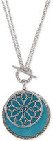 Judith Jack Silver-Tone Turquoise and Crystal Pendant Necklace