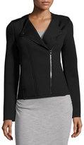 Three Dots Katherine Knit Moto Jacket, Black/Gray