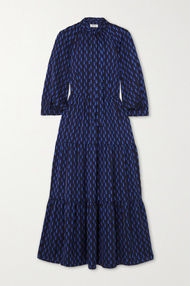 Cefinn Olivia Pussy-bow Tiered Printed Crepe De Chine Midi Dress - Navy