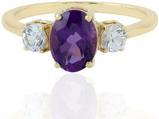 Artisan 18Kt Yellow Gold Band Ring Amethyst White Sapphire Semiprecious Stone Jewelry