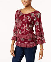 Style&Co. Style & Co Style & Co Petite Printed Ruffle-Trim Top, Created for Macy's