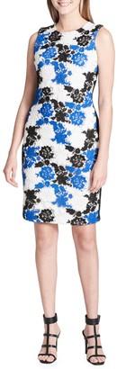 Calvin Klein Collection Sleeveless Floral Crochet Sheath Dress
