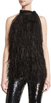 Michael Kors Feather Tie-Neck Sleeveless Blouse, Black