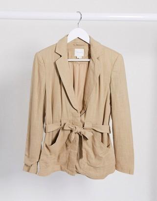 Vila linen mix blazer with tie waist in camel