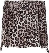 Stone Leopard Print Bardot Top