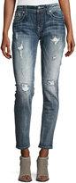 Miss Me Skinny Embroidered Denim Jeans, Dark Blue