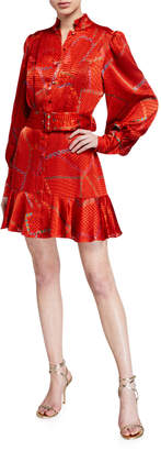 Alexis Lishan Fire-Print Tie-Neck Belted Mini Dress