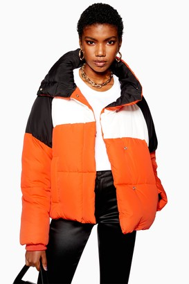 Topshop Orange Color Block Puffer Jacket