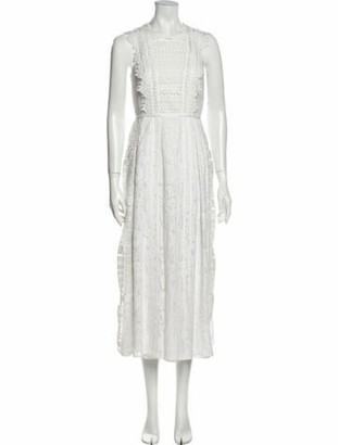 Burberry Crew Neck Long Dress White