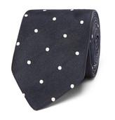 Drakes Drake's - Easyday 7cm Polka-dot Silk Tie - Navy