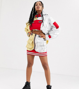 DB Berdan mini skirt in contrast foil panels co-ord