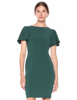 Lark & Ro Amazon Brand Women's Fluid Crepe Flutter Short Sleeve Boat Neck Sheath Dress