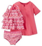 Carter's Size 3M 3-Piece Tribal Print Tankini Swimsuit and Cover-Up Set in Pink