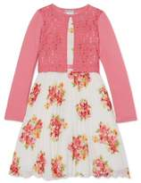Youngland Girls 4-16 Easter Pleated Chiffon Dress With Cardigan, 2-Piece