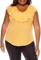 A.N.A a.n.a Short Sleeve V Neck Knit Blouse-Plus
