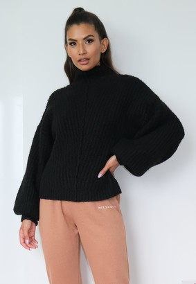 Missguided Black Exposed Seam Front Ribbed Jumper