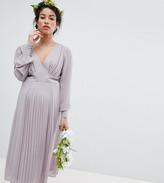 TFNC Maternity Maternity Long Sleeve Midi Bridesmaid Dress With Pleated Skirt