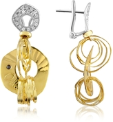 Orlando Orlandini Fashion - Diamond 18K Two-tone Gold Drop Earrings