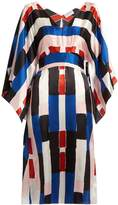 Osman Summer abstract-print silk-satin dress