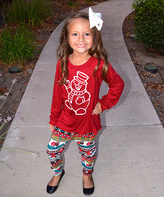 Beary Basics Red Snowman Top & Snowmen Mittens Leggings - Toddler & Girls