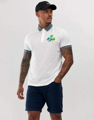 BOSS Pgeorge tipped logo polo in white