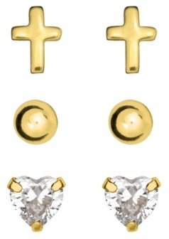 Rhona Sutton 4 Kids Children's Stud Earrings Set of 3 in 10K Yellow Gold Over Sterling Silver