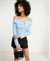 Express striped point collar off the shoulder shirt