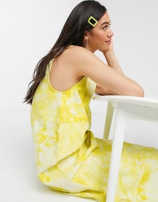 Hosbjerg sleeveless midi dress in marble print denim