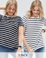 Asos Swing T-Shirt In Stripe 2 Pack