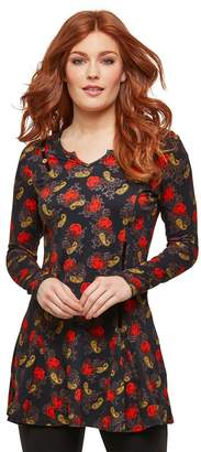 Joe Browns Cotton Short Flared Dress in Floral Print with Long Sleeves