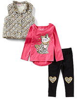 Flapdoodles Little Girls 2T-6X Animal-Printed Puffer Vest, Cat Graphic Tee & Leggings Set