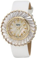 Burgi Women's BUR114YGW Swiss Quartz Crystal Accented Mother-of-Pearl Yellow Gold White Leather Strap Watch